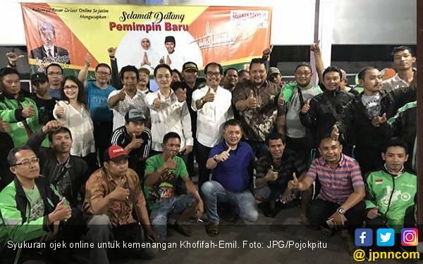Khofifah-Emil Menang, Ojek Online Gelar Syukuran - JPNN.com