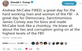 Wakil Direktur FBI Dipecat, Trump Bersorak di Twitter - JPNN.com