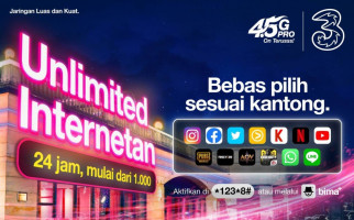 Tri Indonesia Merilis Kuota Unlimited Internet Seharian Hanya Rp1.000 - JPNN.com