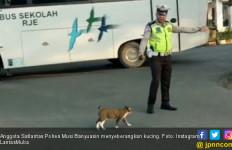 Aksi Polisi Musi Banyuasin Seberangkan Kucing Mendunia - JPNN.com