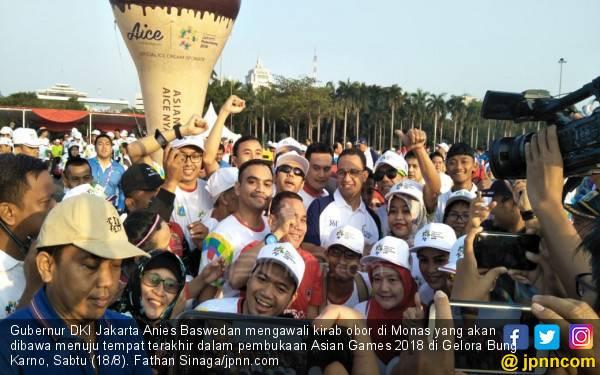 Lepas Kirab Obor Asian Games, Anies Minta Warga Ikut Bantu - JPNN.com