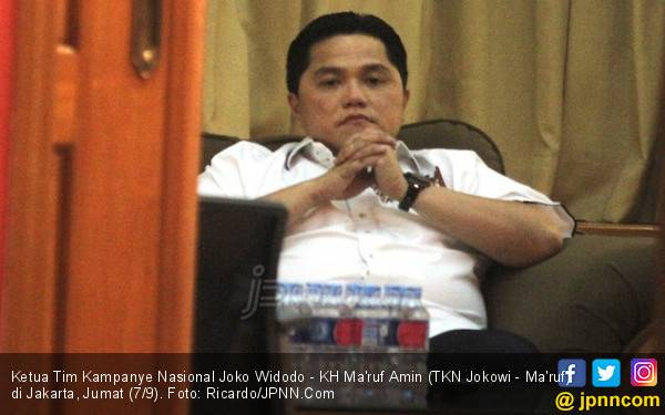 Pimpin TKN Jokowi - Ma'ruf, Erick Thohir Pengin Peluk Sandi - JPNN.com