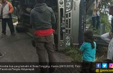 Bus Terguling di Lokasi Wisata Danau Toba, 3 Orang Luka-luka - JPNN.com