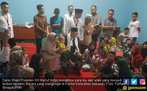 Di Depan Ma'ruf, Pengungsi Tsunami Banten: Lurahnya Ganteng - JPNN.com