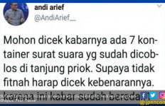 Hmm..Jangan-jangan Andi Arief Sebar Hoaks 7 Kontainer Surat Suara saat Ngefly - JPNN.com