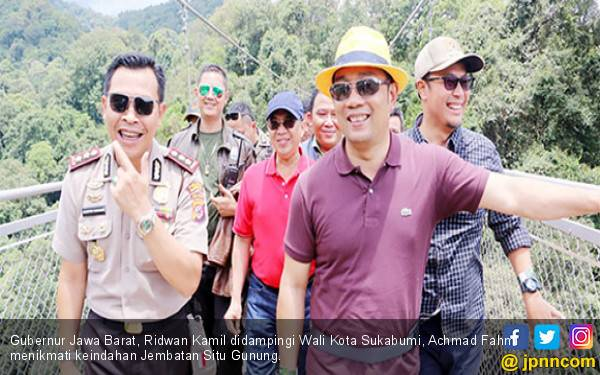 Ridwan Kamil Promosikan Jembatan Gantung Situ Gunung, Terpanjang di Asia - JPNN.com