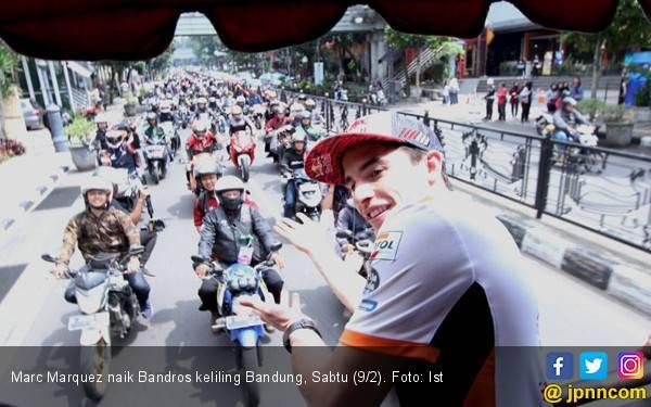 Tanpa Lorenzo, Marc Marquez Jajal Bandros Keliling Bandung - JPNN.com