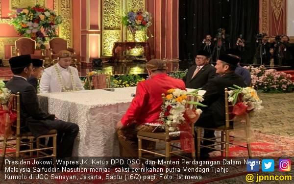 Jokowi, JK, OSO dan Menteri Malaysia jadi Saksi Pernikahan Putra Mendagri - JPNN.com