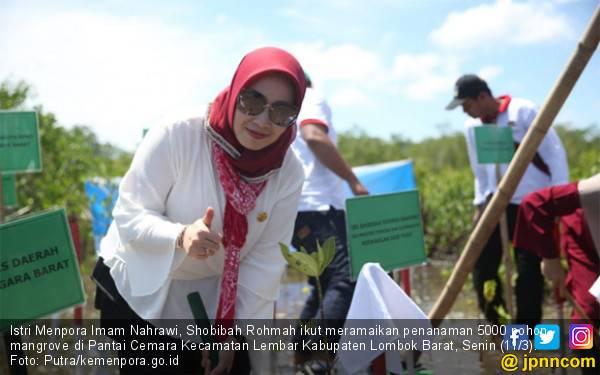 Penasihat DWP Kemenpora Shobibah Rohmah Tanam 5000 Pohon Mangrove di Lombok Barat - JPNN.com