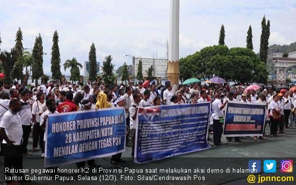 Honorer K2 Gelar Aksi, Tagih Janji Diangkat jadi PNS, Bukan PPPK - JPNN.com