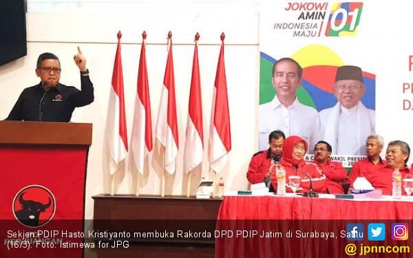 Bawa Pesan Bu Mega, Hasto Semangati Kader PDIP Jatim demi Jokowi-Ma'ruf - JPNN.com