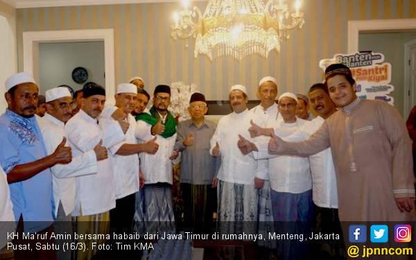 Dukungan dan Doa Habaib dari Jatim buat Kiai Ma'ruf Jelang Debat Cawapres - JPNN.com