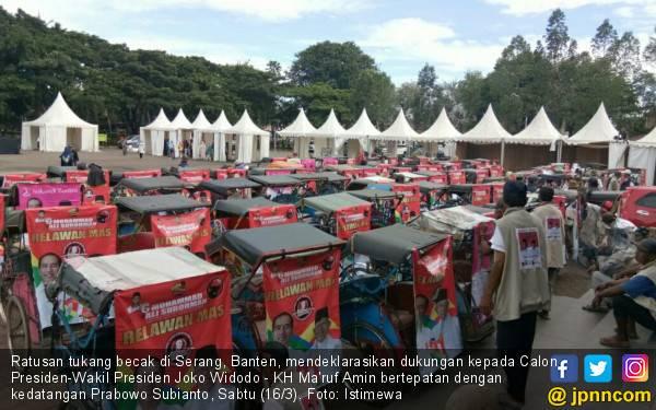 Prabowo Datang, Ratusan Tukang Becak Serang Dukung Jokowi - Kiai Ma'ruf Menang - JPNN.com