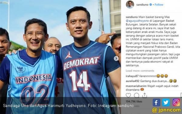 Lihat Cuplikan Sandiaga Uno dan AHY Main Bola Basket, Kompak Banget - JPNN.com