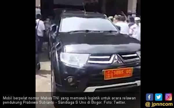 Viral, Mobil Berpelat TNI Bawa Logistik untuk Acara Relawan Prabowo - Sandi - JPNN.com