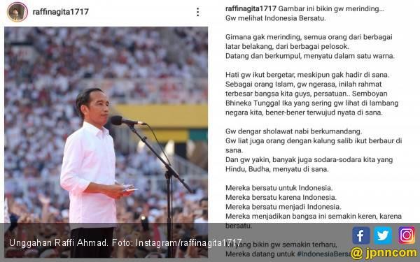 Dukung Jokowi, Raffi Ahmad: Gue Melihat Indonesia Bersatu - JPNN.com