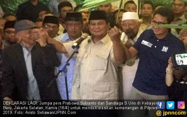 Ajak Sandi, Prabowo Deklarasikan Kemenangan Sekali Lagi - JPNN.com