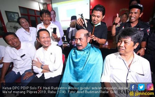 Jokowi Baru Unggul Versi Quick Count, Wali Kota Solo Sudah Cukur Gundul - JPNN.com