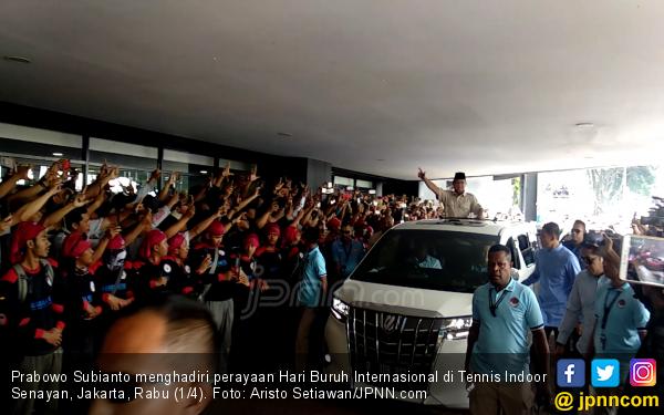 Datang ke Perayaan Hari Buruh, Prabowo Diteriaki 'Presiden, Presiden' - JPNN.com