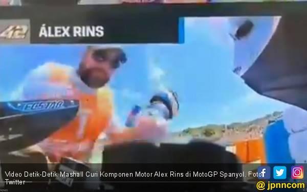 Video Detik-Detik Marshall Curi Komponen Motor Alex Rins di MotoGP Spanyol - JPNN.com