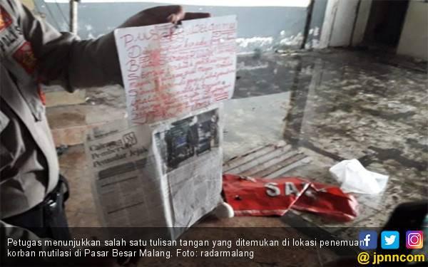3 Tulisan di Lokasi Mutilasi Pasar Besar Malang, Penulis Pilih Tinta Merah dan Hitam - JPNN.com