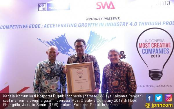 Pupuk Indonesia Raih Penghargaan Indonesia Most Creative Company 2019 - JPNN.com