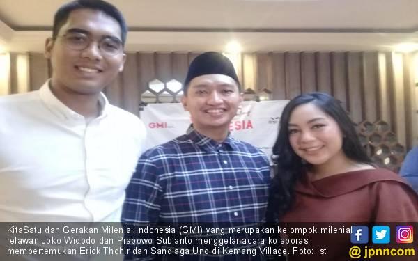 Kolaborasi Bangun Bangsa, Milenial Jokowi - Prabowo Pertemukan Erick Thohir dan Sandiaga Uno - JPNN.com
