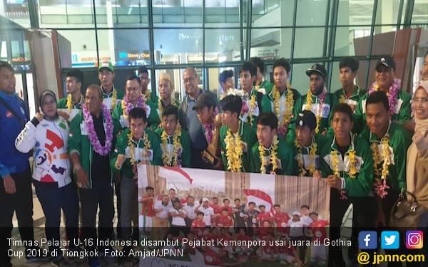 Kemenpora Sambut Timnas Pelajar U-16 Juara Gothia Cup 2019 di Tiongkok - JPNN.com