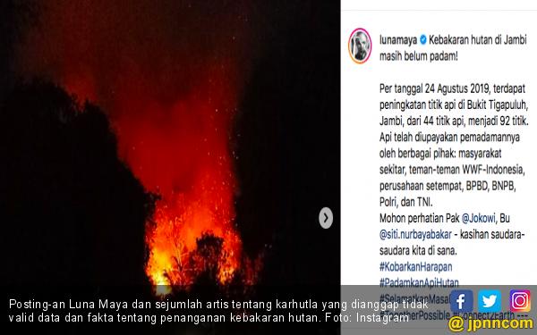 Luna Maya Posting Karhutla di Jambi, KLHK: Memang Dia Pernah Padamkan Api? - JPNN.com