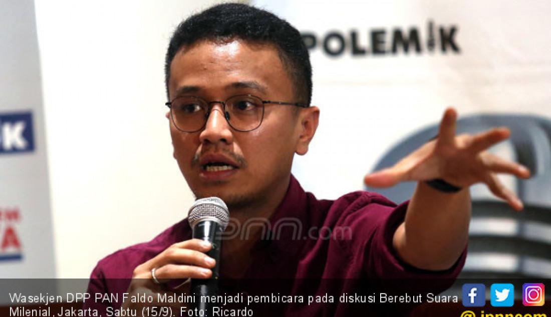 Wasekjen DPP PAN Faldo Maldini menjadi pembicara pada diskusi Berebut Suara Milenial, Jakarta, Sabtu (15/9). Foto: Ricardo - JPNN.com