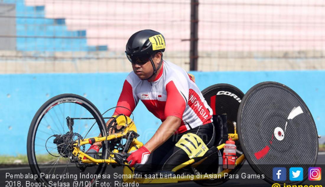 Pembalap Paracycling Indonesia Somantri saat bertanding di Asian Para Games 2018, Bogor, Selasa (9/10). Foto: Ricardo - JPNN.com