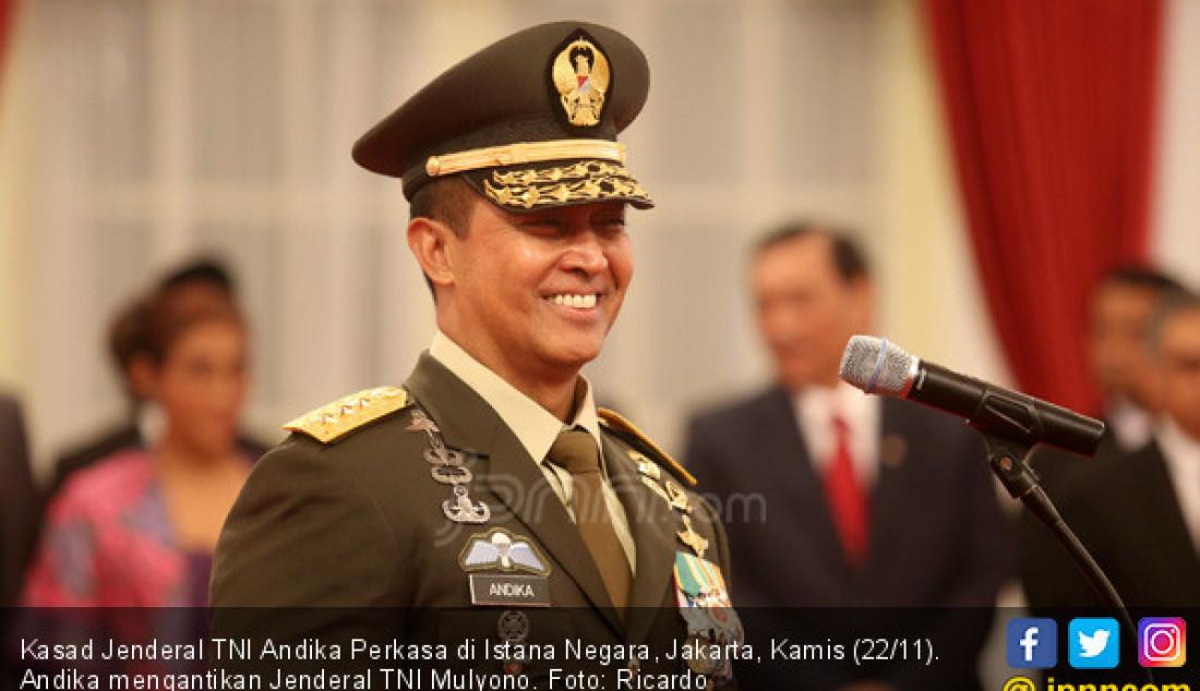 Kasad Jenderal TNI Andika Perkasa di Istana Negara, Jakarta, Kamis (22/11). Andika mengantikan Jenderal TNI Mulyono. Foto: Ricardo - JPNN.com