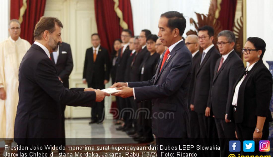 Presiden Joko Widodo menerima surat kepercayaan dari Dubes LBBP Slowakia Jarovlas Chlebo di Istana Merdeka, Jakarta, Rabu (13/2). Foto: Ricardo - JPNN.com