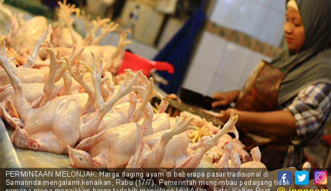 PERMINTAAN MELONJAK: Harga daging ayam di beberapa pasar tradisional di Samarinda mengalami kenaikan, Rabu (17/7). Pemerintah mengimbau pedagang tidak semena-mena menaikkan harga terlebih menjelang Idul Adha. Foto: Kaltim Post - JPNN.com