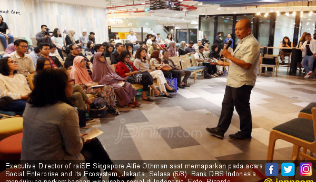 Executive Director of raiSE Singapore Alfie Othman saat memaparkan pada acara Social Enterprise and Its Ecosystem, Jakarta, Selasa (6/8). Bank DBS Indonesia mendukung perkembangan wirausaha sosial di Indonesia. Foto: Ricardo - JPNN.com