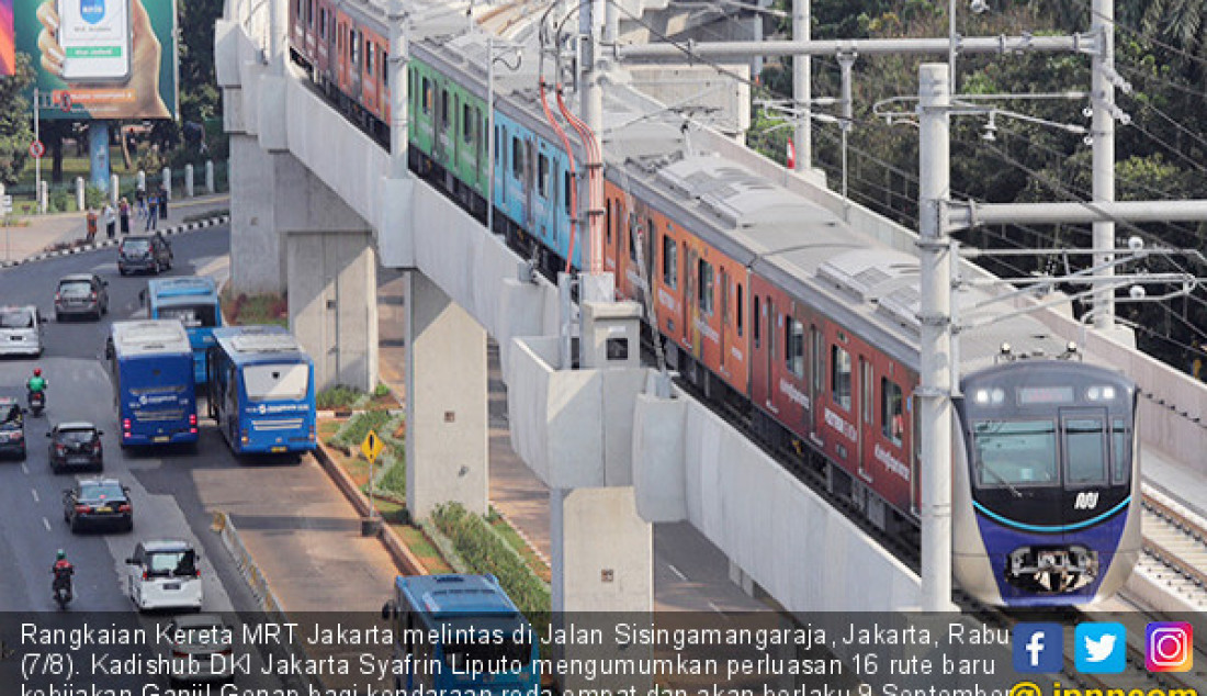 Rangkaian Kereta MRT Jakarta melintas di Jalan Sisingamangaraja, Jakarta, Rabu (7/8). Kadishub DKI Jakarta Syafrin Liputo mengumumkan perluasan 16 rute baru kebijakan Ganjil-Genap bagi kendaraan roda empat dan akan berlaku 9 September. Foto: Dery R/Jawa Pos - JPNN.com