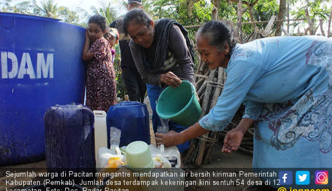 Sejumlah warga di Pacitan mengantre mendapatkan air bersih kiriman Pemerintah Kabupaten (Pemkab). Jumlah desa terdampak kekeringan kini sentuh 54 desa di 12 kecamatan. Foto: Doc. Radar Pacitan - JPNN.com