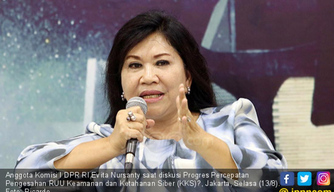 Anggota Komisi I DPR RI Evita Nursanty saat diskusi Progres Percepatan Pengesahan RUU Keamanan dan Ketahanan Siber (KKS)?, Jakarta, Selasa (13/8). Foto: Ricardo - JPNN.com