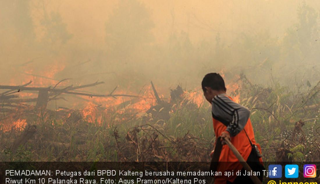 PEMADAMAN: Petugas dari BPBD Kalteng berusaha memadamkan api di Jalan Tjilik Riwut Km 10 Palangka Raya. Foto: Agus Pramono/Kalteng Pos - JPNN.com