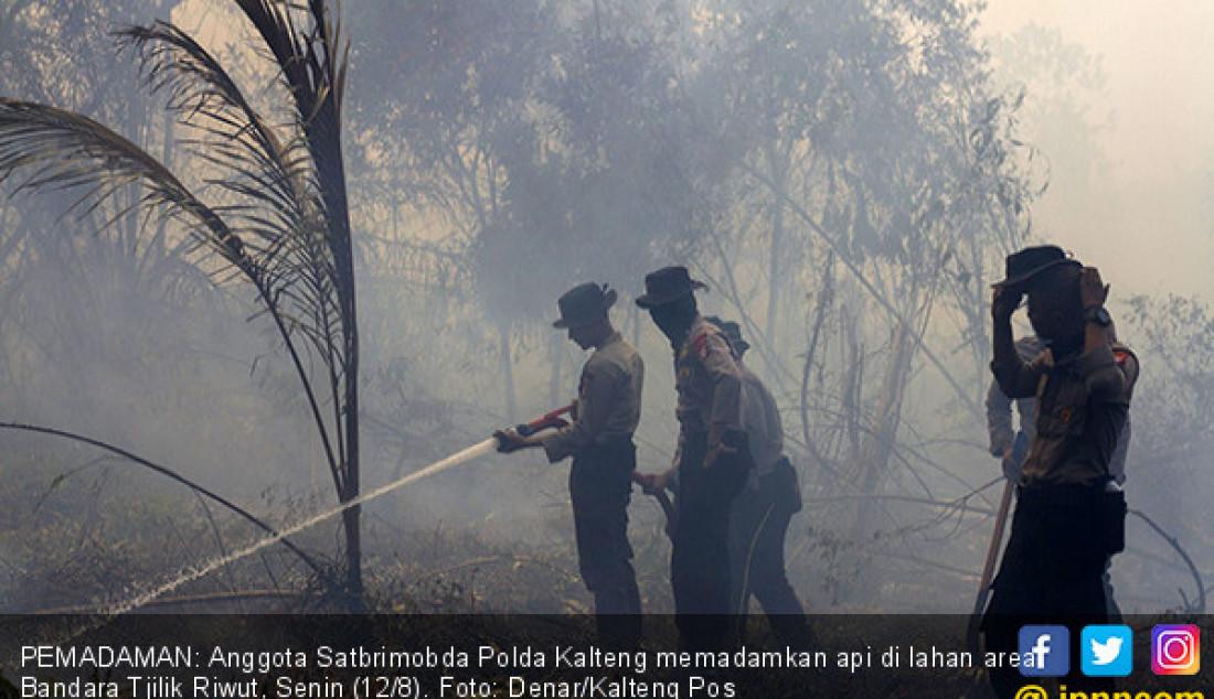 PEMADAMAN: Anggota Satbrimobda Polda Kalteng memadamkan api di lahan area Bandara Tjilik Riwut, Senin (12/8). Foto: Denar/Kalteng Pos - JPNN.com