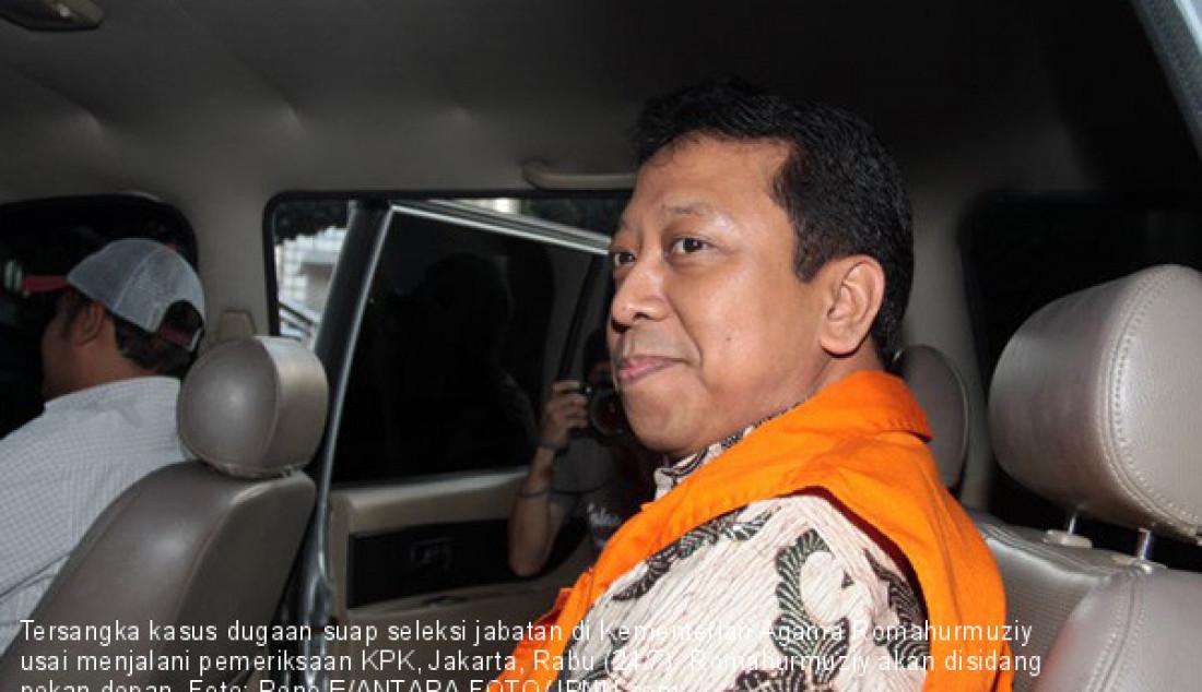 Tersangka kasus dugaan suap seleksi jabatan di Kementerian Agama Romahurmuziy usai menjalani pemeriksaan KPK, Jakarta, Rabu (24/7). Romahurmuziy akan disidang pekan depan. Foto: Reno E/ANTARA FOTO/JPNN.com - JPNN.com