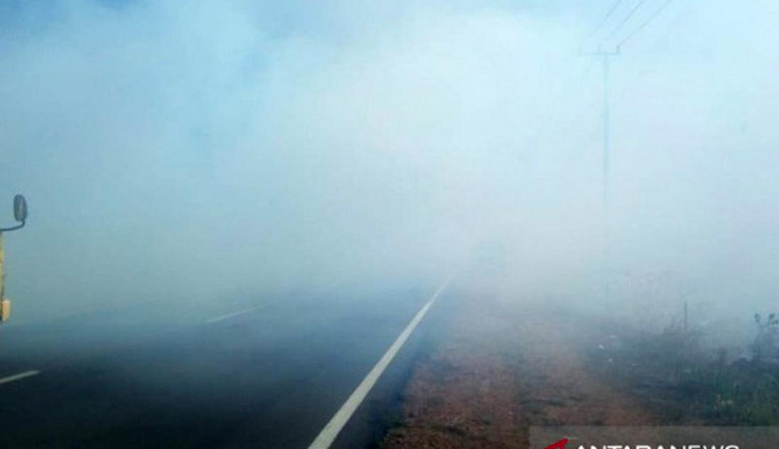 Asap tebal dari kebakaran hutan terlihat menutupi jalan Lintas Timur Bangka, Provinsi Kepulauan Bangka Belitung, Rabu (11/9). Tebalnya asap membuat jarak pandang lintas Timur Bangka hanya 3 meter. Foto: Aprioni/ANTARA/JPNN.com - JPNN.com