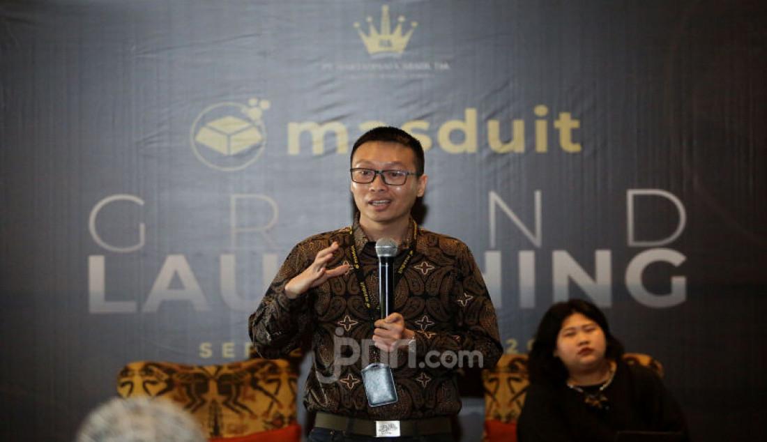 Chief Executive Officer Masduit Bony Hudi saat peluncuran aplikasi Masduit, Jakarta, Kamis (19/9). Aplikasi jual beli emas yang bisa langsung dapat diterima secara fisiknya dengan pecahan terkecil mulai 0,1 gram. Foto: Ricardo - JPNN.com