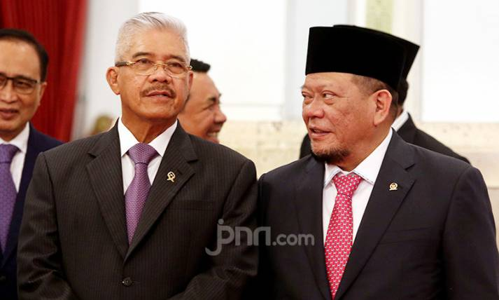 Ketua MA Hatta Ali dan Ketua DPD La Nyalla Mattalitti - JPNN.com