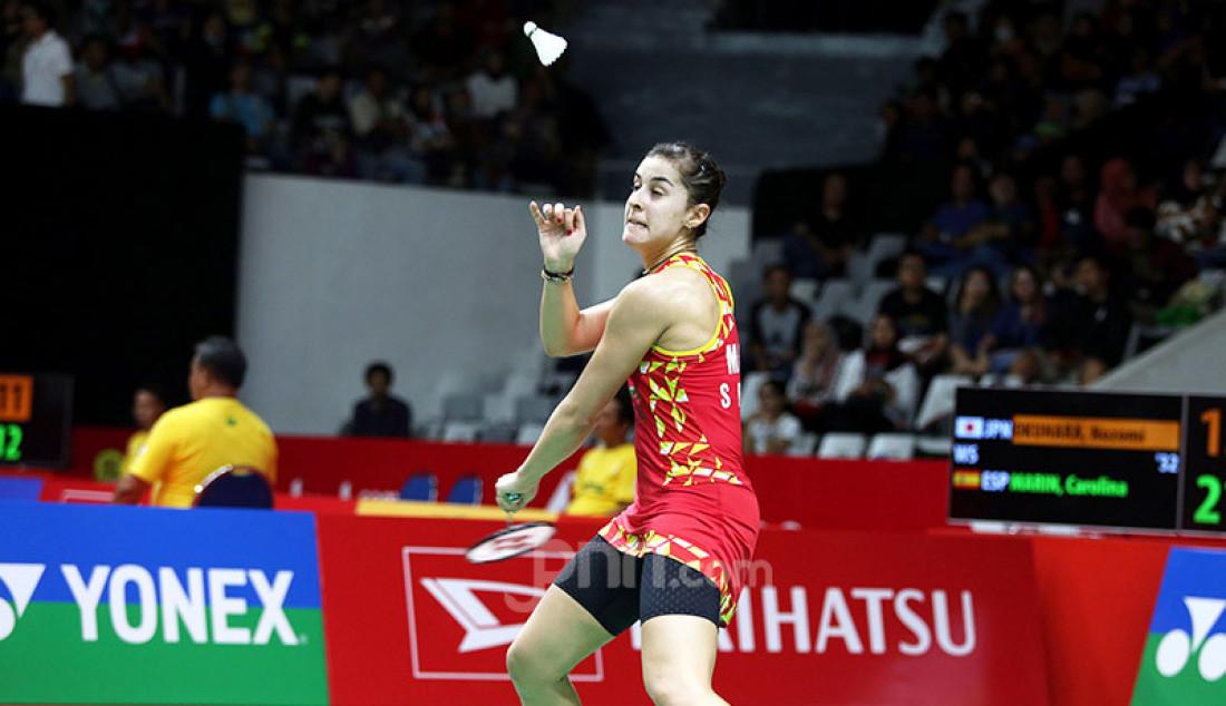 Tunggal putri Spanyol Carolina Marin saat bertanding pada turnamen Indonesia Masters 2020, Jakarta, Kamis (16/1). Carolina menang atas lawannya dengan skor 21-13 dan 21-15. Foto: Ricardo - JPNN.com