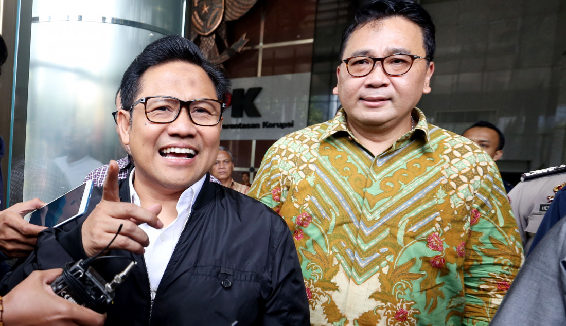 Ketum PKB Muhaimin Iskandar usai diperiksa KPK, Jakarta, Rabu (29/1). Cak Imin diperiksa sebagai saksi kasus dugaan suap proyek di KemenPUPR dengan tersangka Direktur dan Komisaris PT Sharleen Raya (JECO Group), Hong Arta John Alfred. Foto: Ricardo - JPNN.com