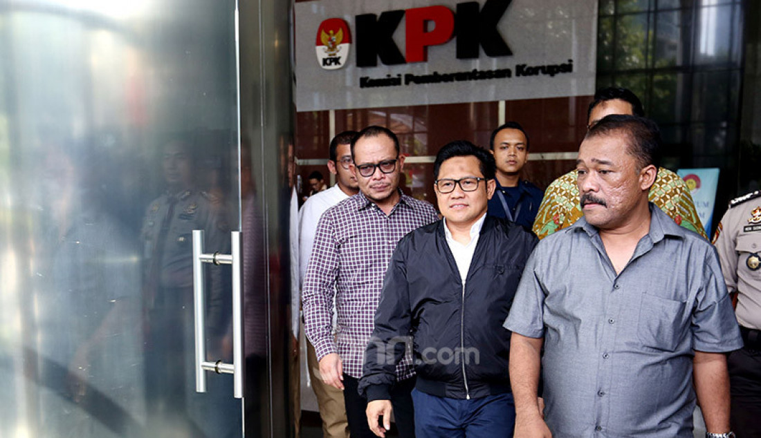 Ketum PKB Muhaimin Iskandar usai diperiksa KPK, Jakarta, Rabu (29/1). Cak Imin diperiksa sebagai saksi kasus dugaan suap proyek di KemenPUPR dengan tersangka Hong Arta John Alfred. Foto: Ricardo - JPNN.com