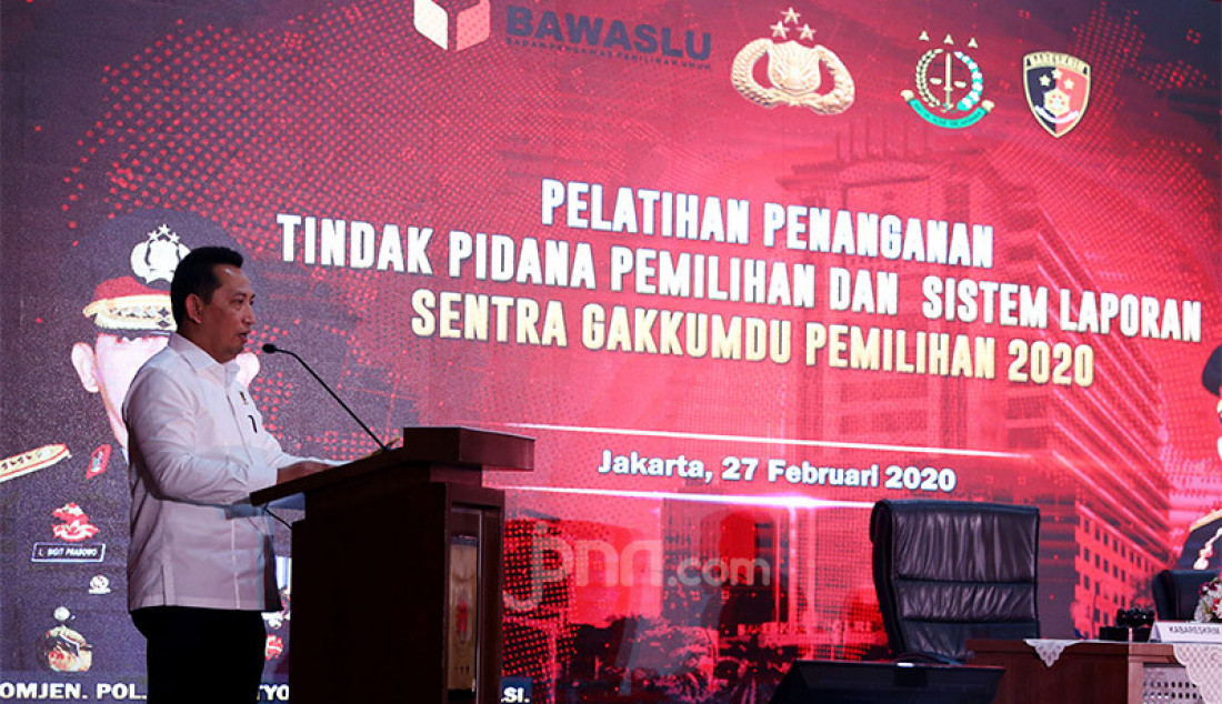 Kabareskrim Komjen Listyo Sigit saat memberikan arahan pada penutupan Pelatihan Penanganan Tindak Pemilihan dan Laporan Sentra Gakumdu Pemilihan 2020 di Gedung Bareskrim Polri, Jakarta, Kamis (27/2). Foto: Ricardo - JPNN.com