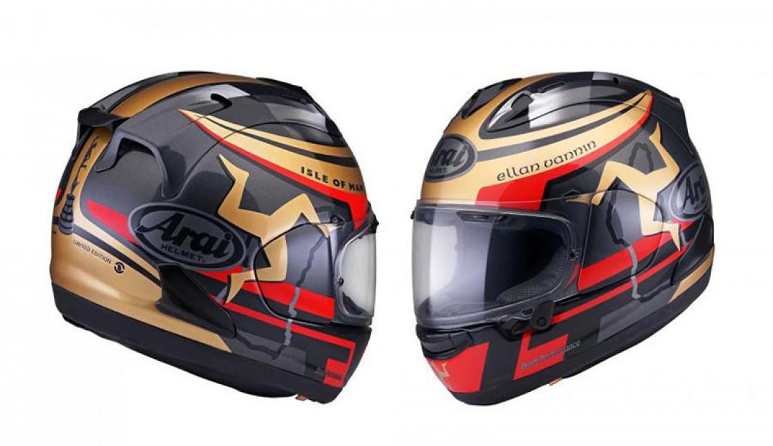 Produsen helm asal Jepang, Arai kembali meluncurkan RX-7 series terbaru dari Isle of Man TT. Keluar dalam edisi terbatas, helm ini dibanderol dengan harga Rp 16 jutaan. Foto: Visordown - JPNN.com