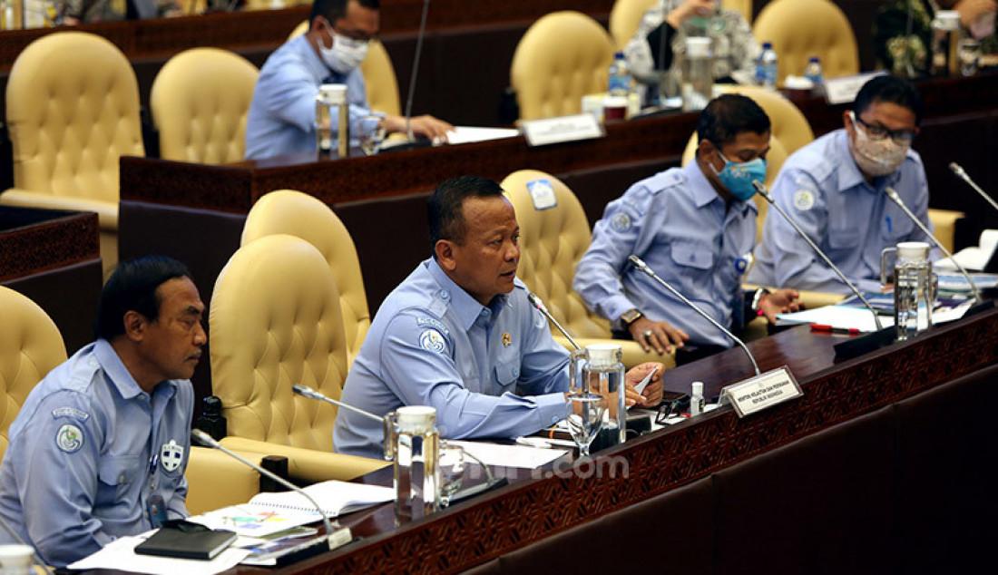 Menteri KKP Edhy Prabowo saat rapat kerja dengan Komisi IV DPR, Jakarta, Selasa (23/6). Foto: Ricardo - JPNN.com